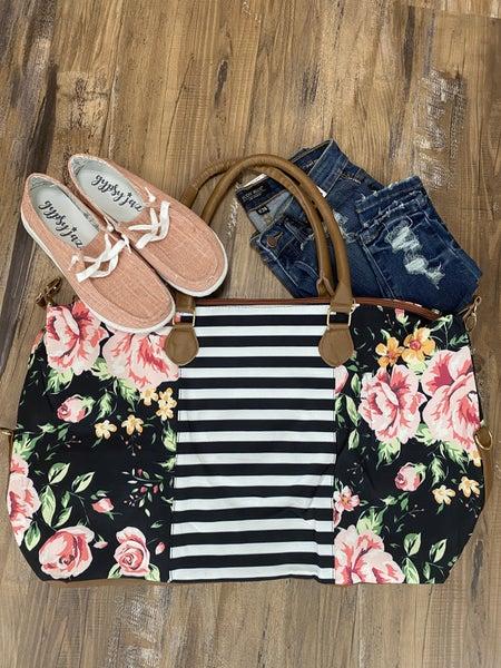 Floral Striped Weekender Bag