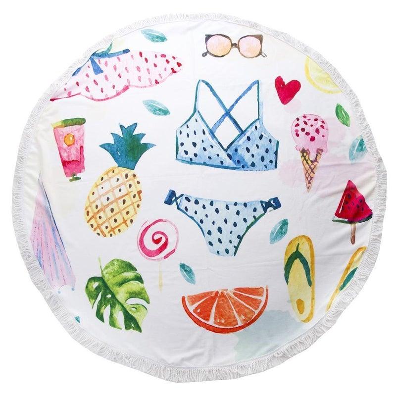 Sweet Summer Time Print Luxury Round Beach Towel