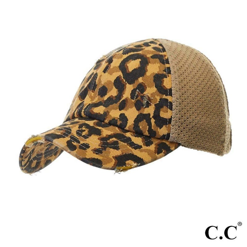 Leopard Print Distressed Baseball Cap with Knit Mesh Back - Mustard
