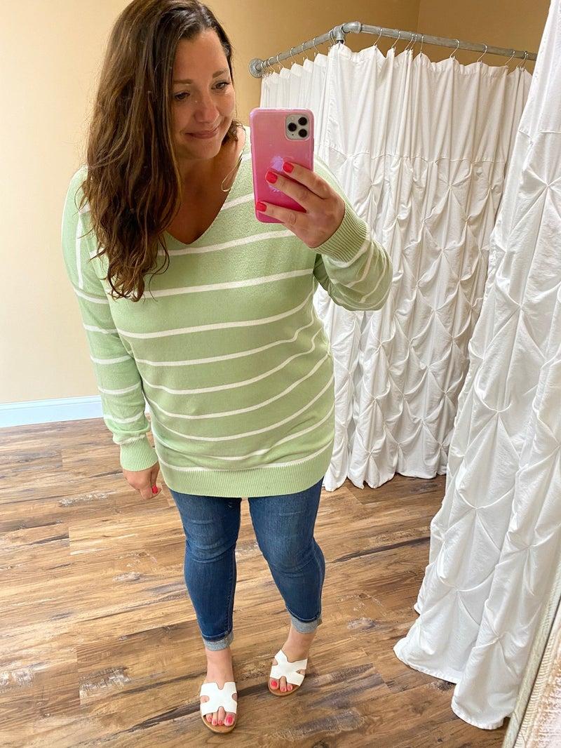 Brinley Striped V-Neck Sweater - Light Green