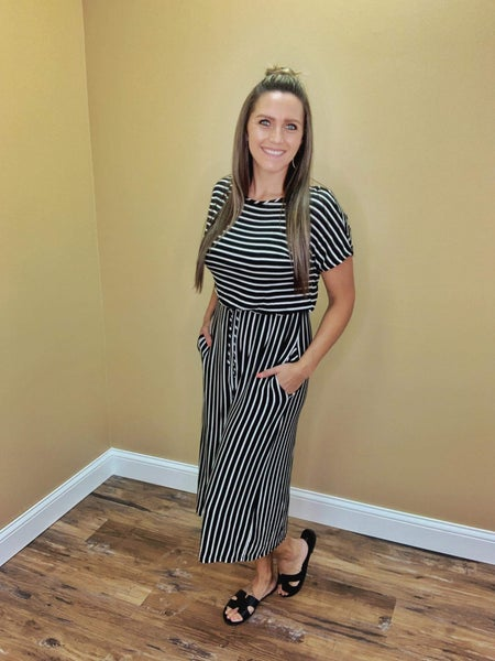 Avery Short Sleeve Striped Romper