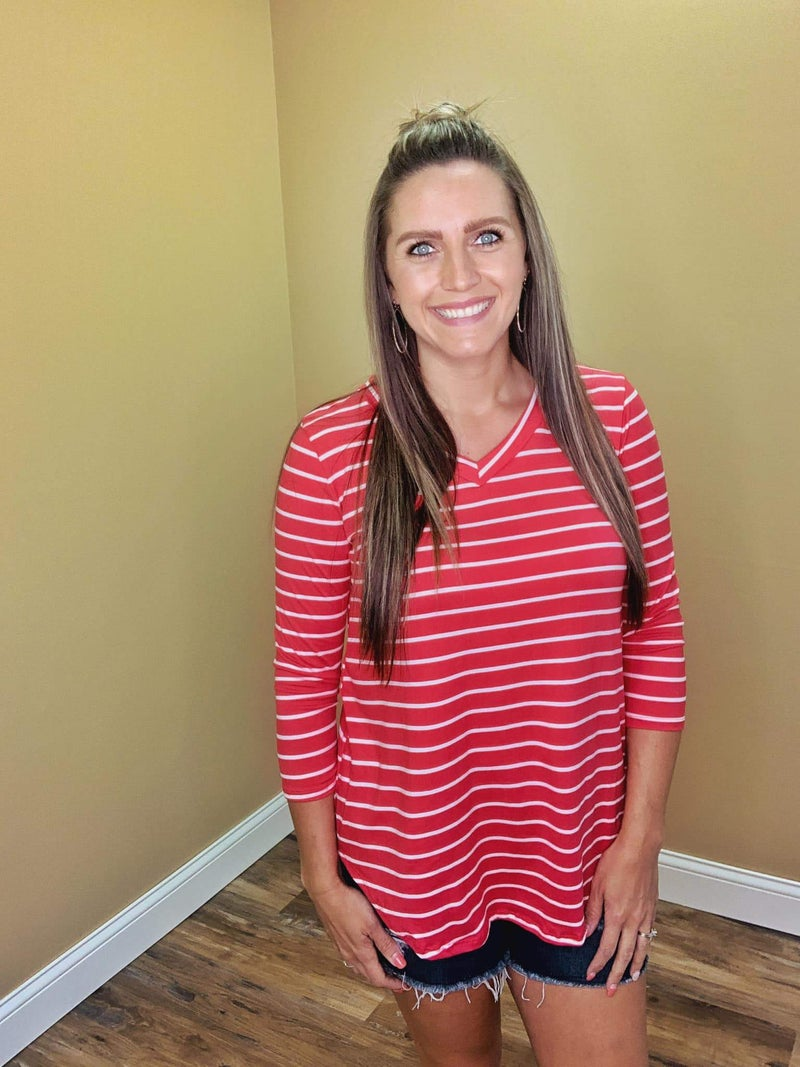 Kennedy 3/4 Sleeves Striped Top - Coral