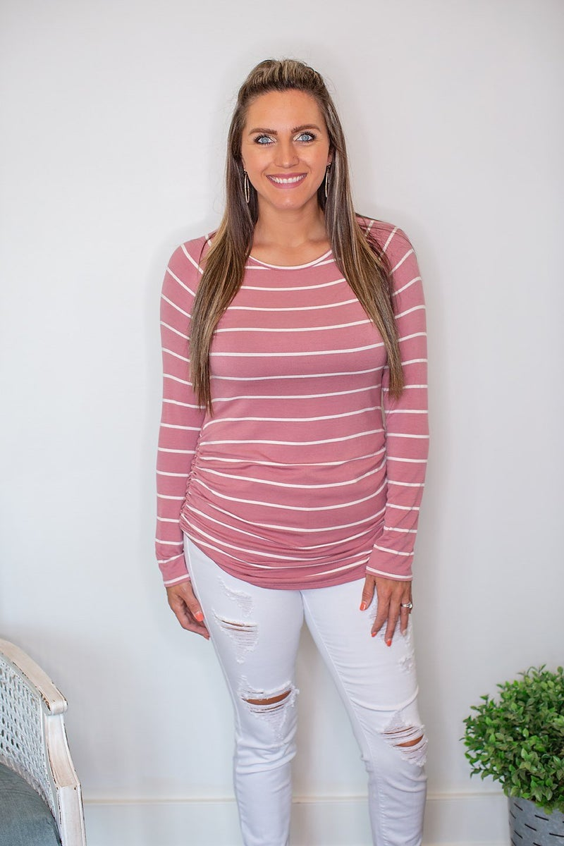 Brynlee Striped Long Sleeve Tunic - Mauve