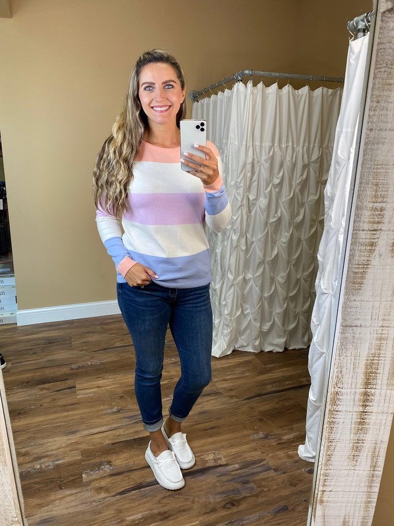 Madline Color Block Lightweight Sweater - Peach/Pink