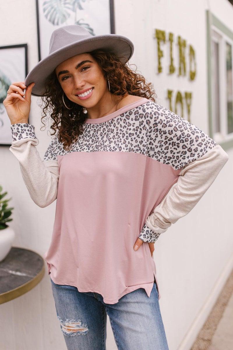 Maggie Raglan Top in Pink