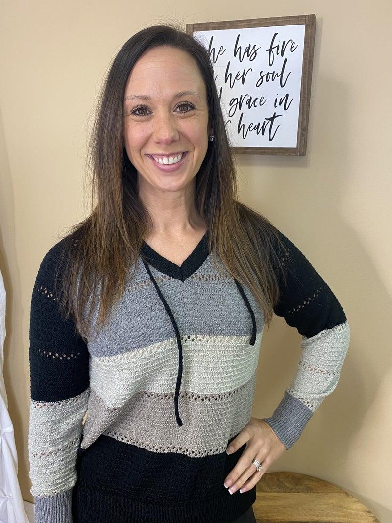 AnnaMarie Multi Color Lightweight Sweater - Black/Grey