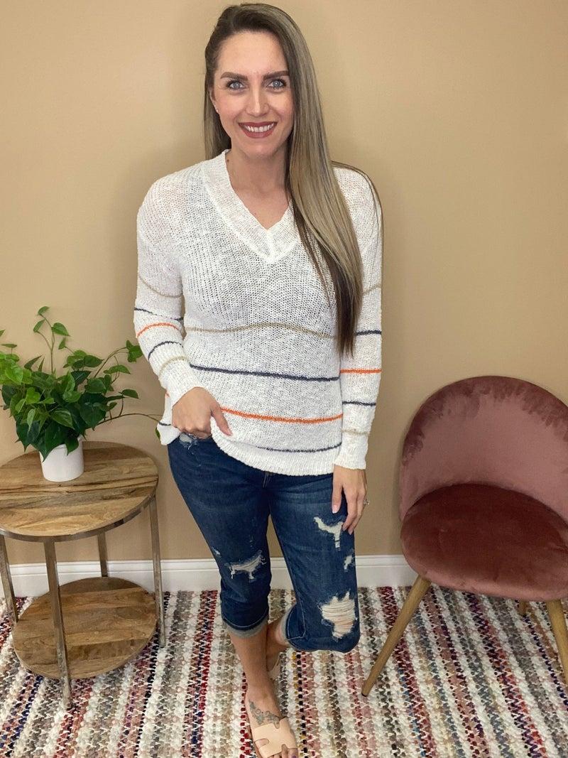 Marley Striped Knit Lightweight Sweater Top