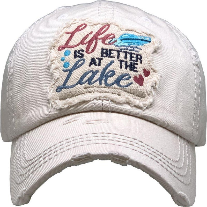 Life is Better at the Lake Vintage Distressed Baseball Cap