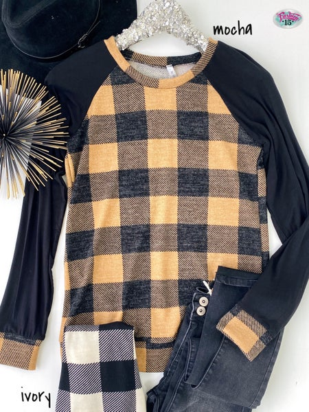 .Buffalo Plaid Raglan Top
