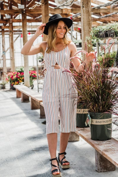 Striped Jumpsuit w/ Keyhole