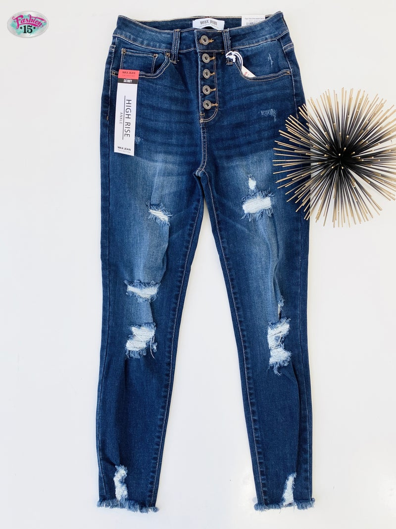.Button Fly High Rise Distressed Denim