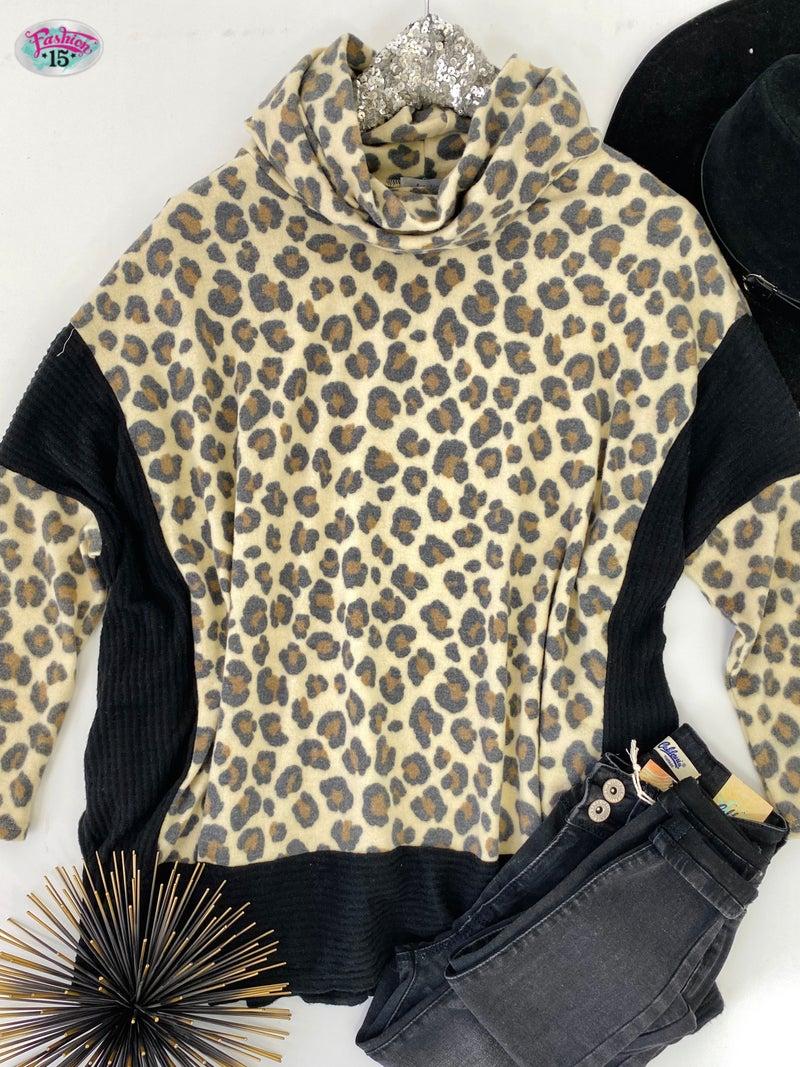 ~.Super Soft Animal Print Top w/ Black Waffle Knit