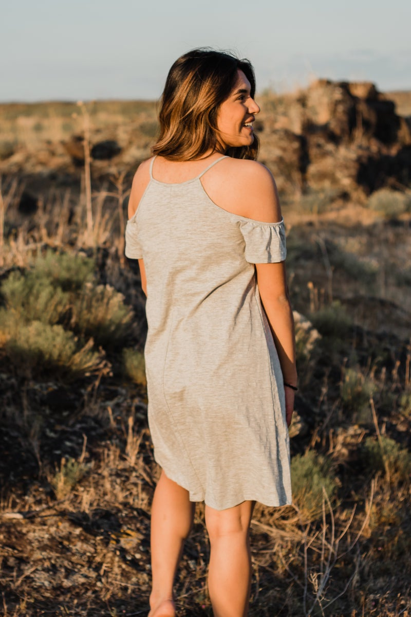 Off The Shoulder Grey Tunic