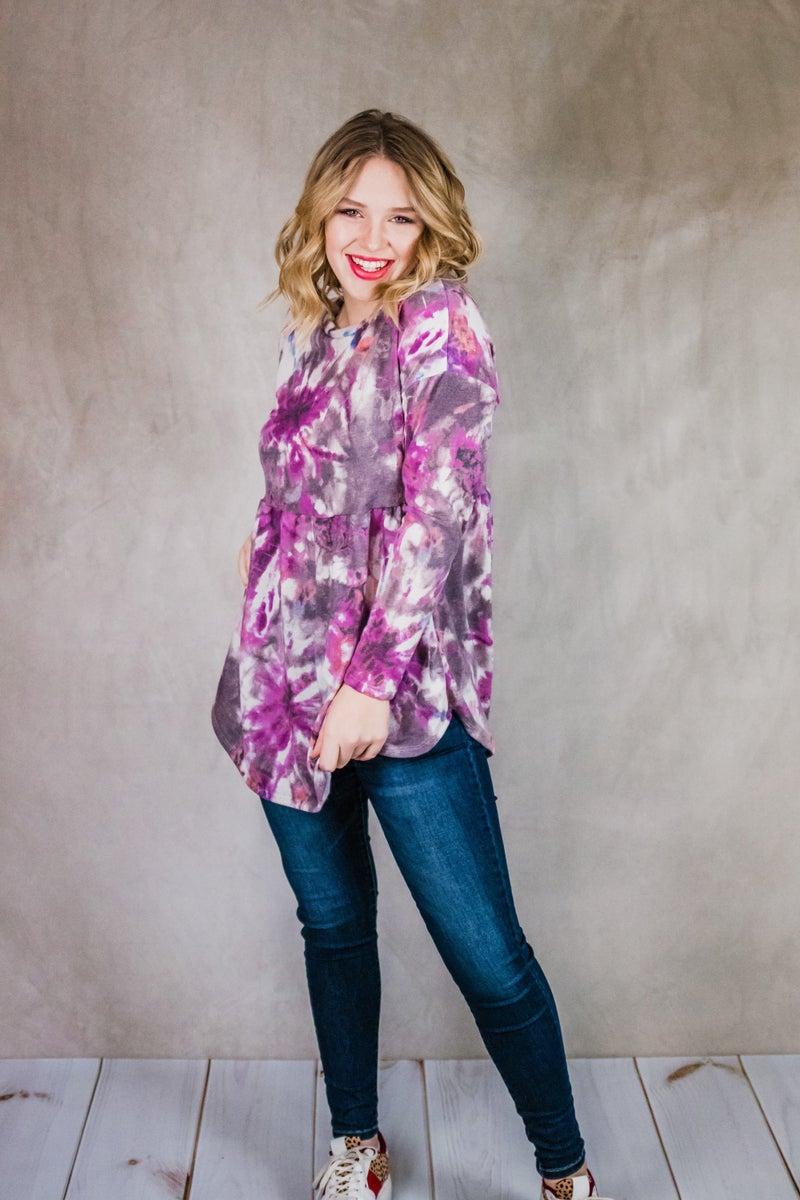 ~Purple Tie Dye Peplum Top