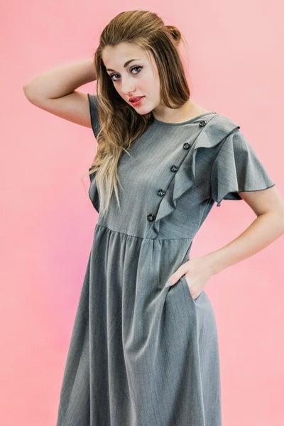 Charcoal Dress w/ Ruffles