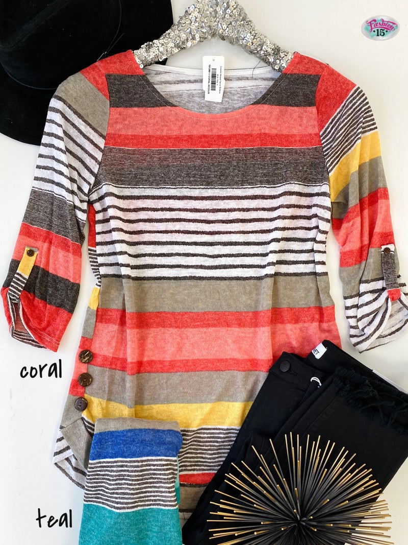.Colorful Striped Top w/ Buttons