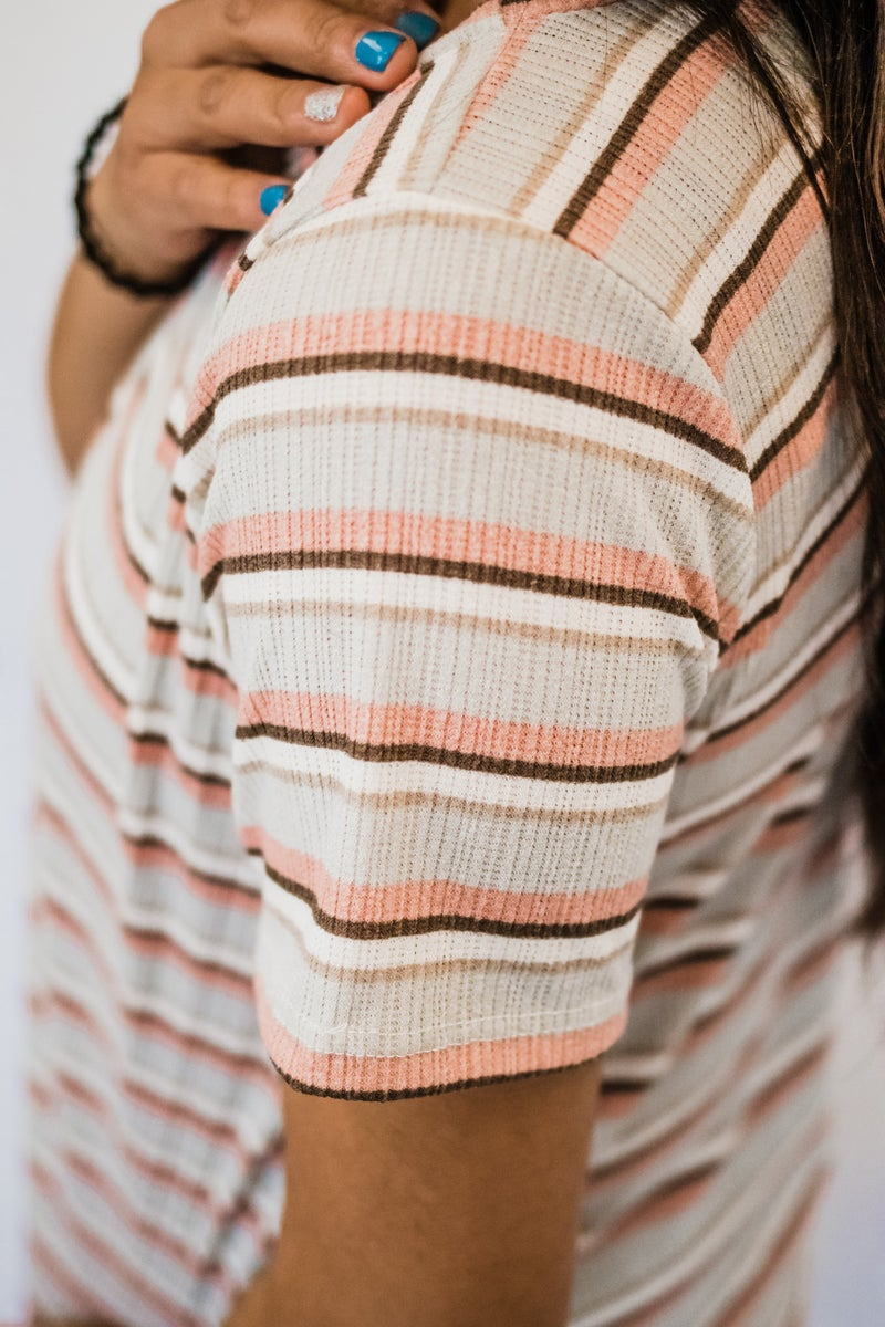 ~Mint & Salmon Striped Top
