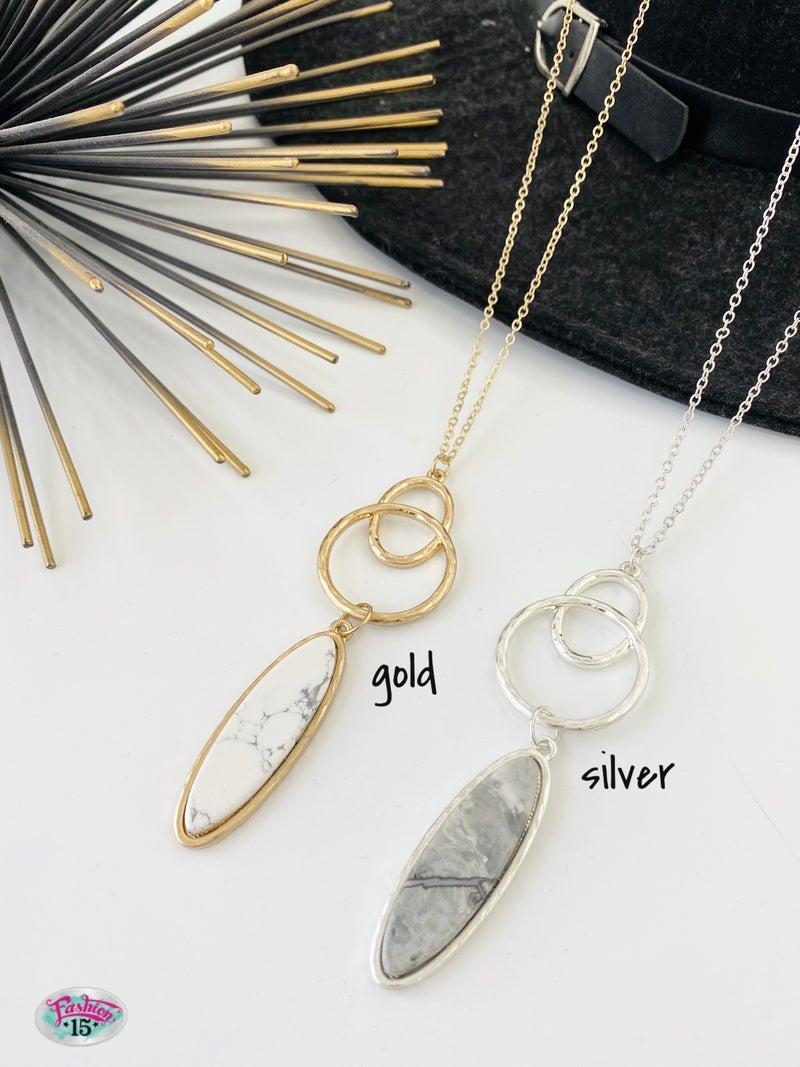 .Necklace w/ Stone Pendant