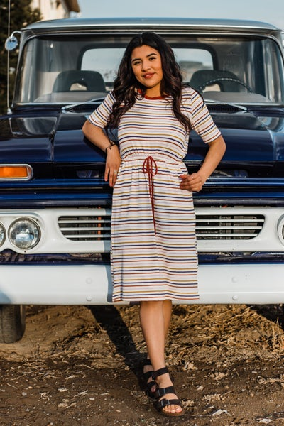 Striped Dress w/ Pockets & Tie Detail