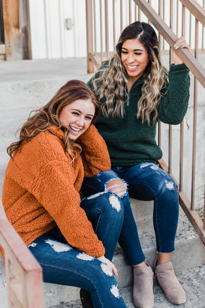 *Erin's Closet* Soft Sherpa Half Zip Pullover