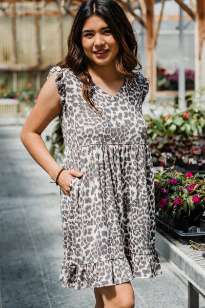 Animal Print Dress w/ Ruffle