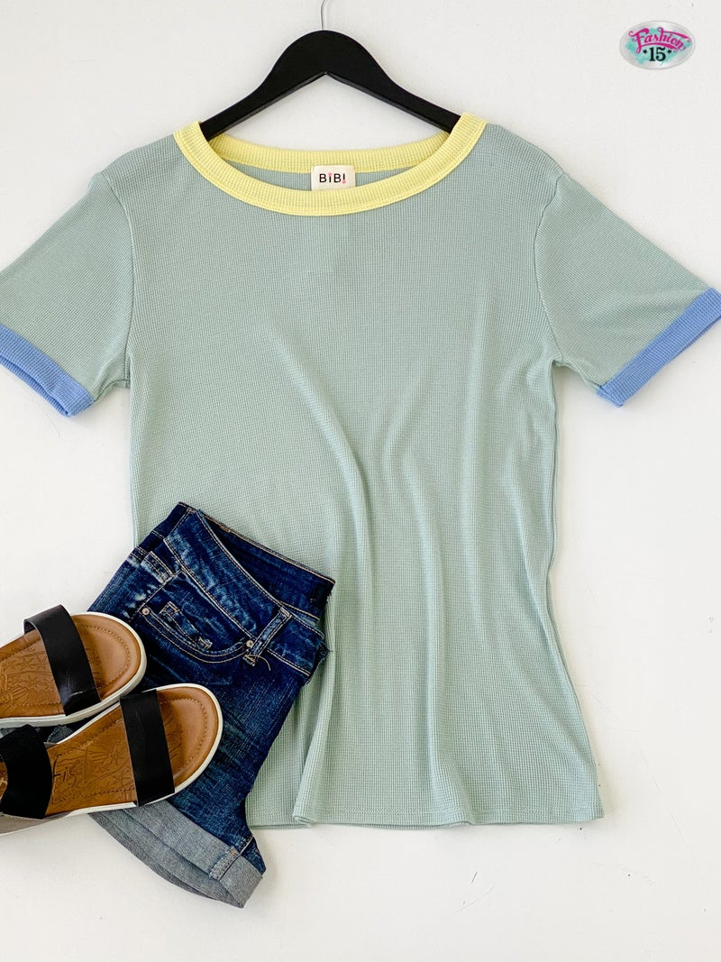 Colorful Mint Short Sleeve Top