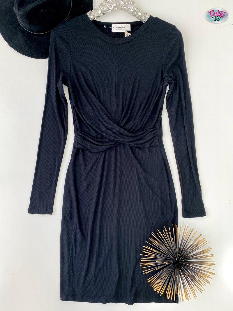 .Black Ribbed Dress w/ Crossover