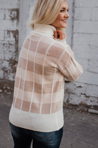 Taupe & Ivory Plaid Top
