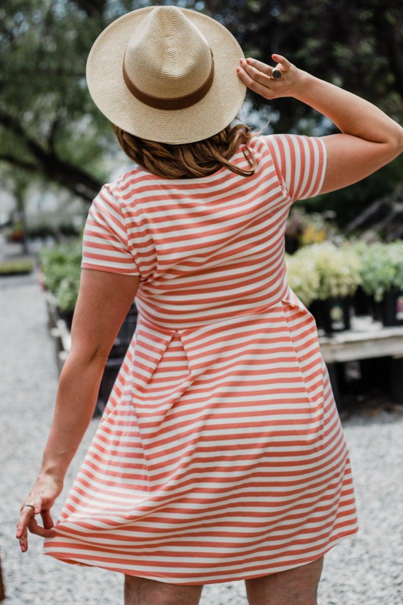 Plus Peach & Ivory Striped Dress