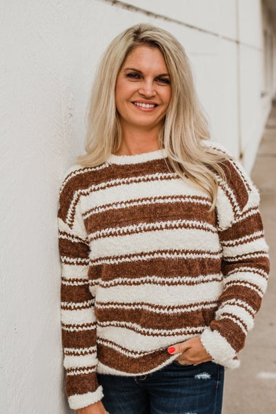 Mocha & Ivory Striped Popcorn Top