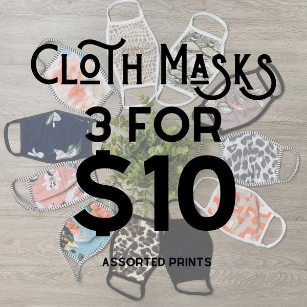 Simple Cloth Mask Set [[ 3 for $10]] *Final Sale*