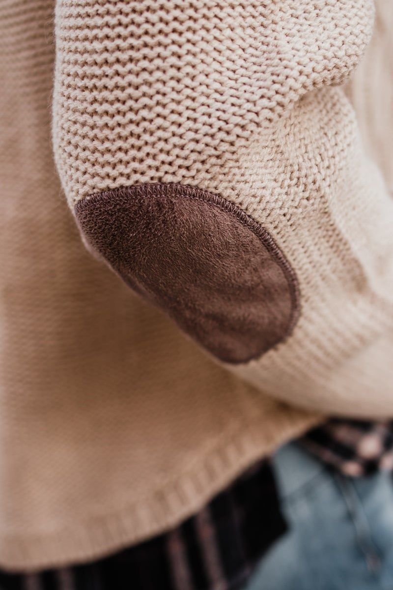 Taupe Sweater w/ Plaid Detail