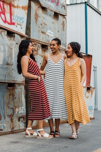 V-Neck Cami Striped Dress