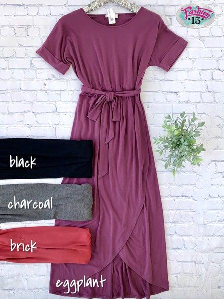 Faux Wrap Dress w/ Tie