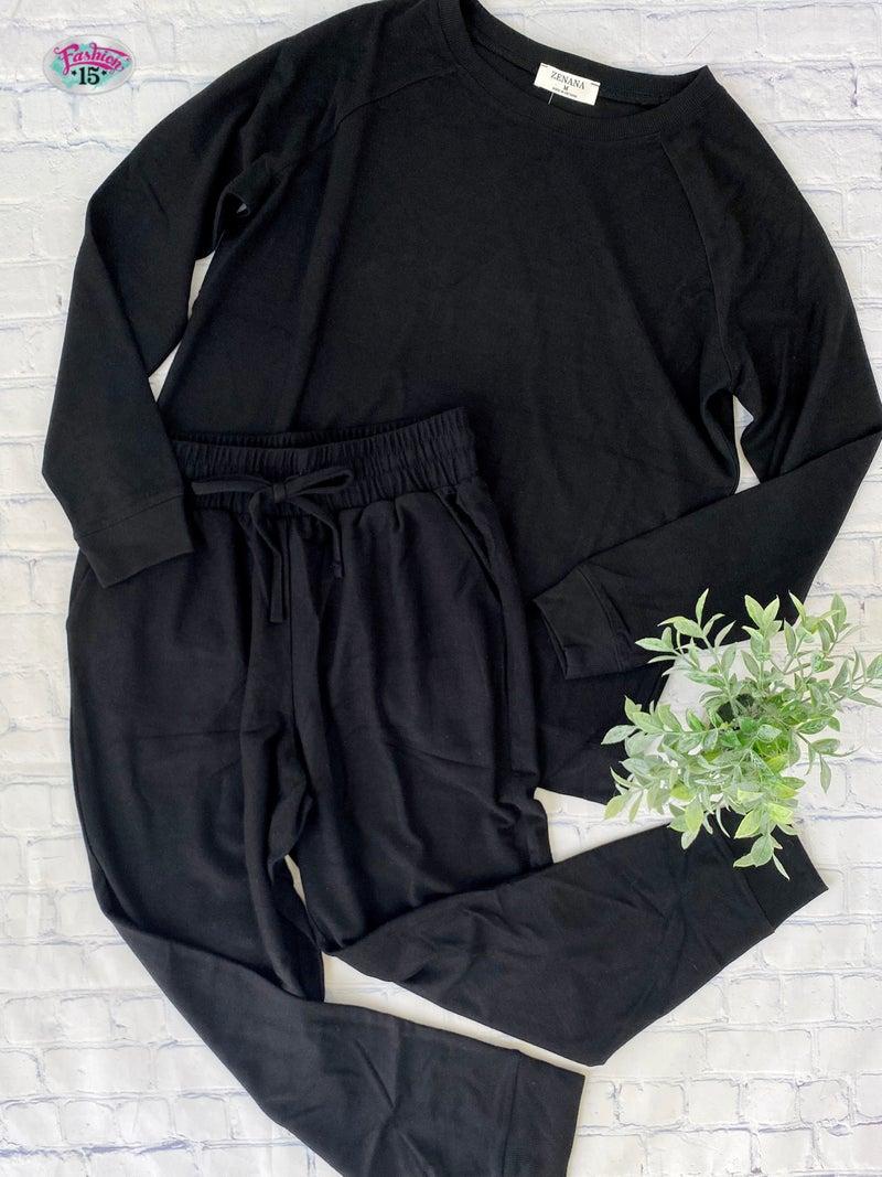 Plus Solid Black Activewear