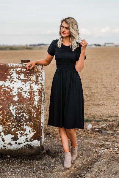 Smocked Black Dress