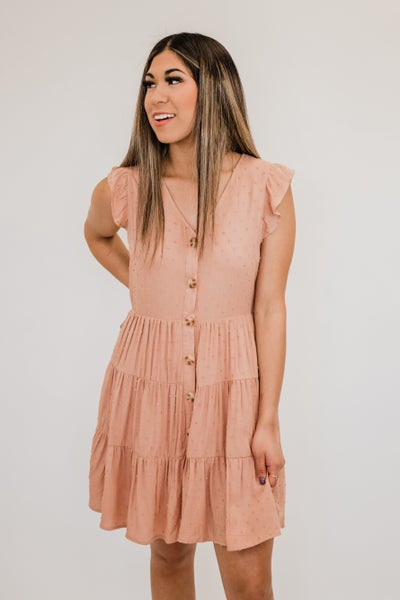 Dusty Peach Dress w/ Buttons
