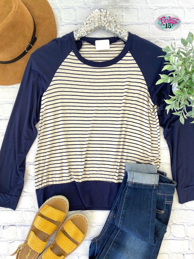 Plus Navy & Oatmeal Striped Top