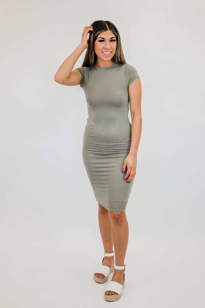 Solid High Neck Dress