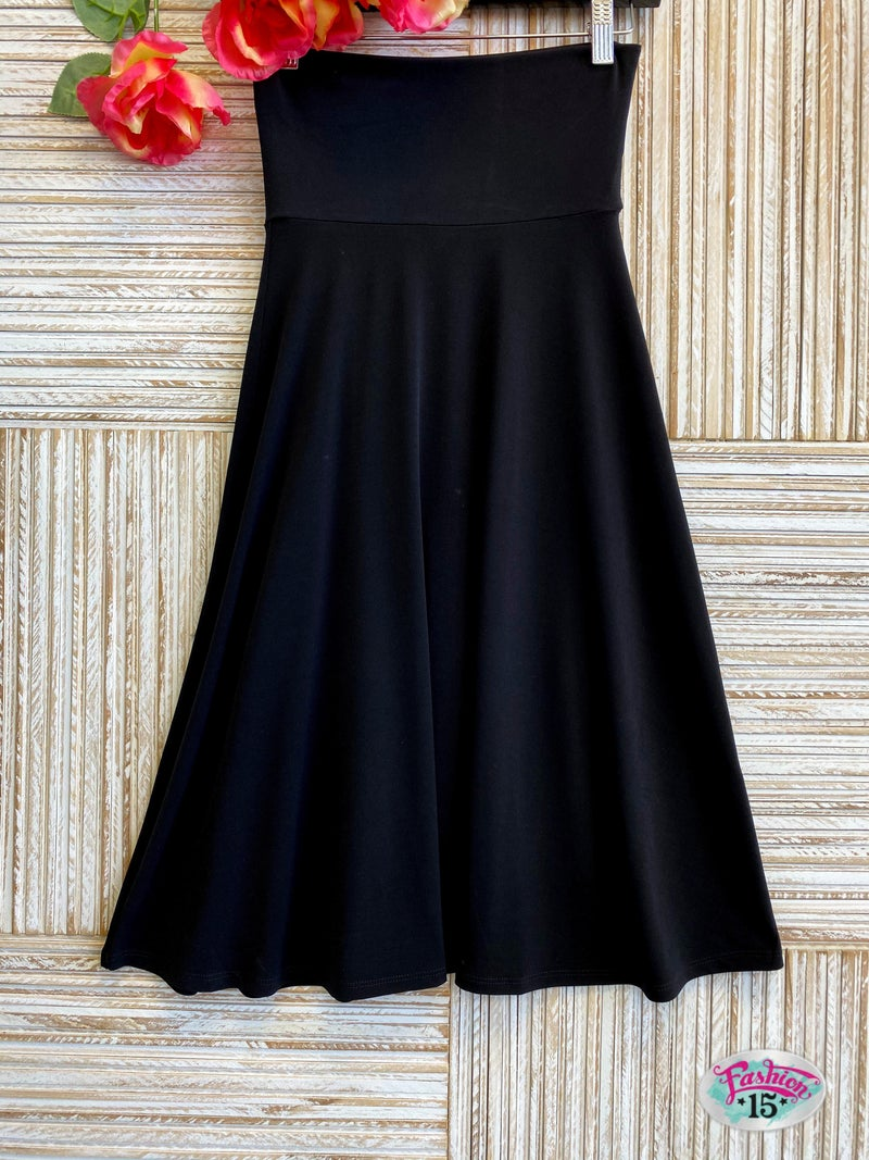 ~Black Solid A-Line Skirt