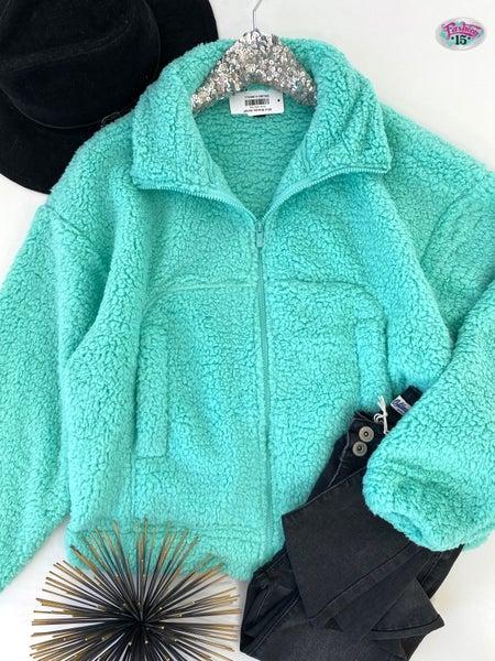 .Mint Sherpa Jacket
