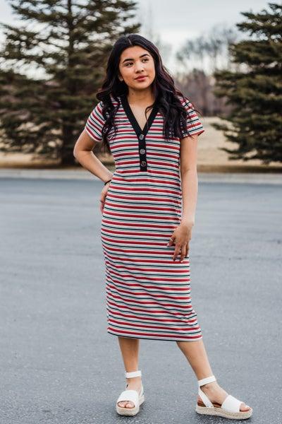 Rust & Black Striped Dress w/ Buttons