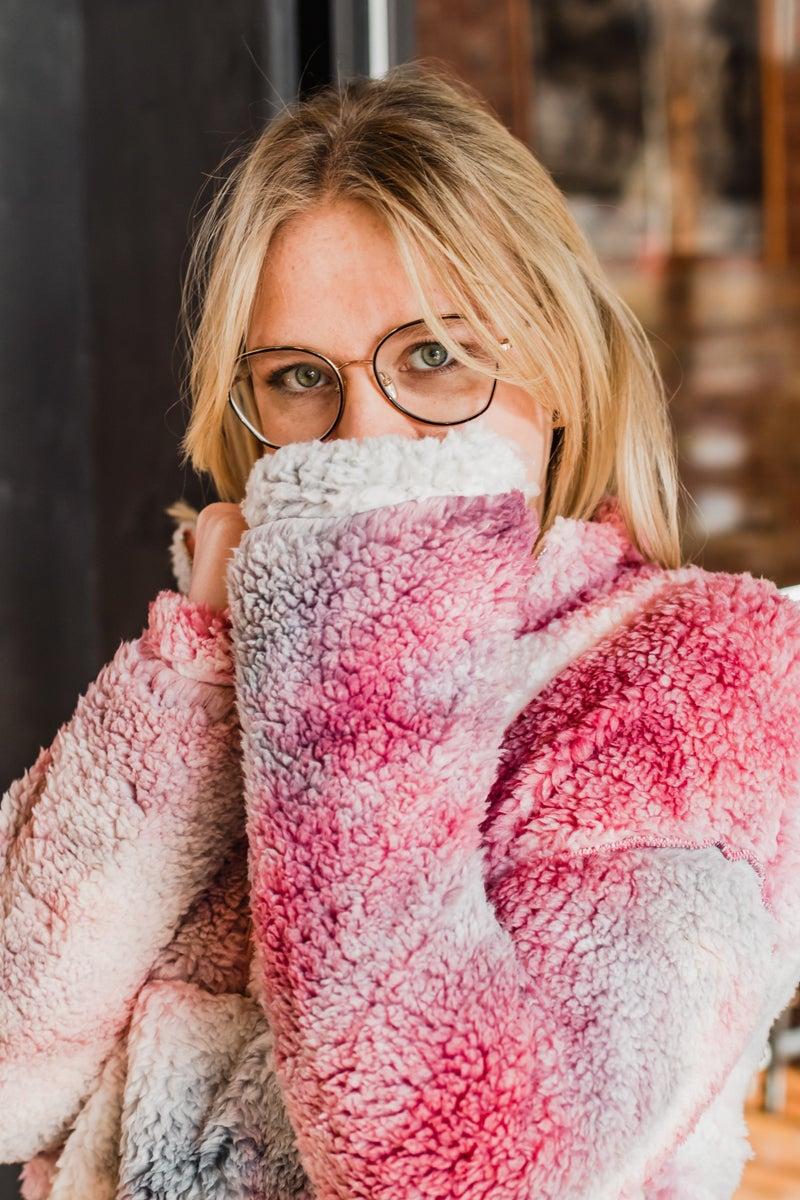 .Super Soft Colorful Sherpa Pullover w/ Hem Drawstring