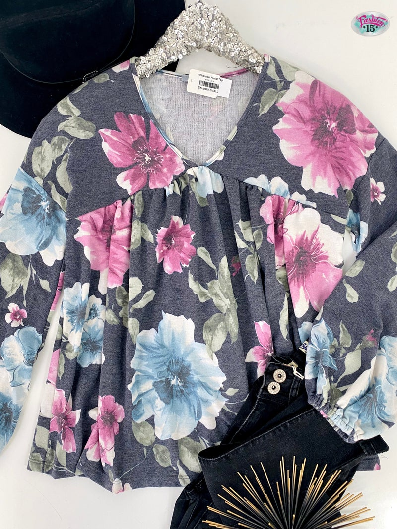 ~.Charcoal Floral Top