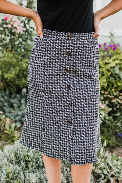 Houndstooth Skirt w/ Button Detail *Final Sale*