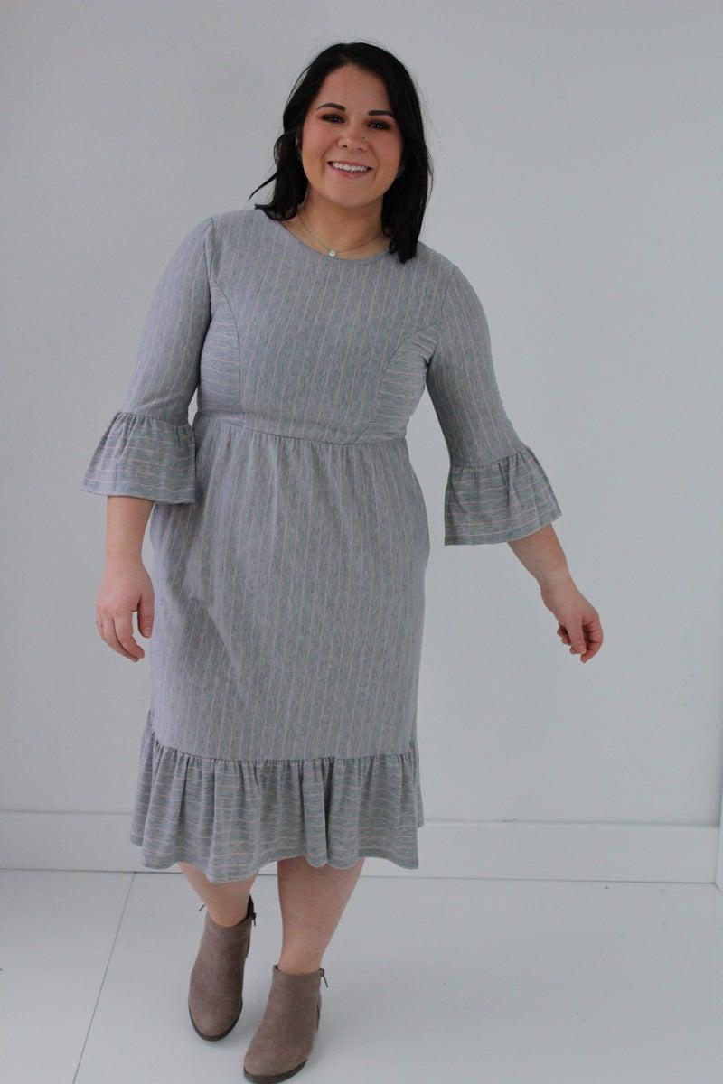 Pink & Grey Striped Dress