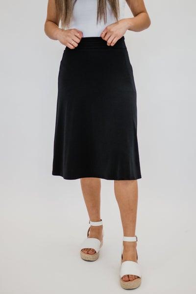 ~Black Solid A-Line Skirt