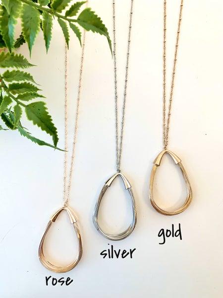 "32"" Teardrop Wire Necklace"