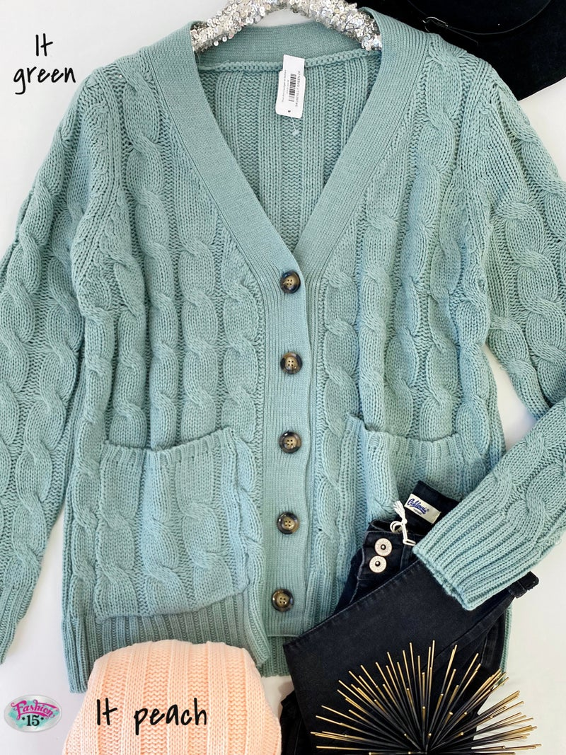 .Plus Knit Cardigan w/ Buttons