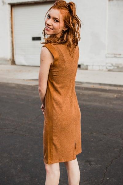 .Camel Ribbed Dress